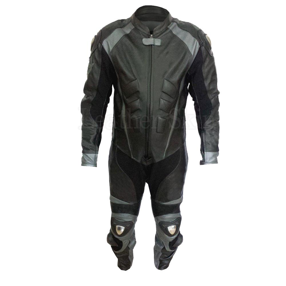 Men Black Genuine Leather Suit with Gray Stripes
