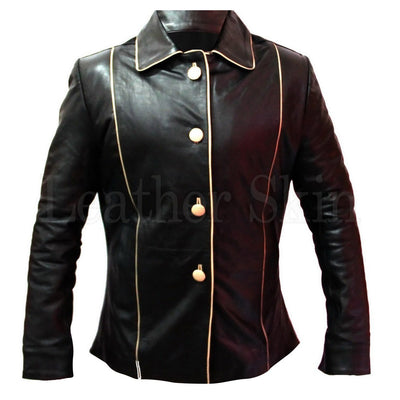 Men Black Real Leather Jacket with Front Buttons