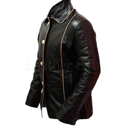Men Black Genuine Leather Jacket with Front Buttons