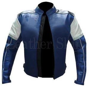 Men Blue Biker Leather Jacket with White Shoulder Patches