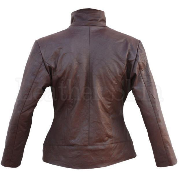 Ladies Cow Real Leather Jacket in Brown Color