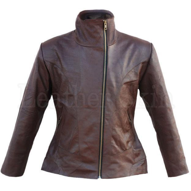 Women Brown Cow Genuine Leather Jacket