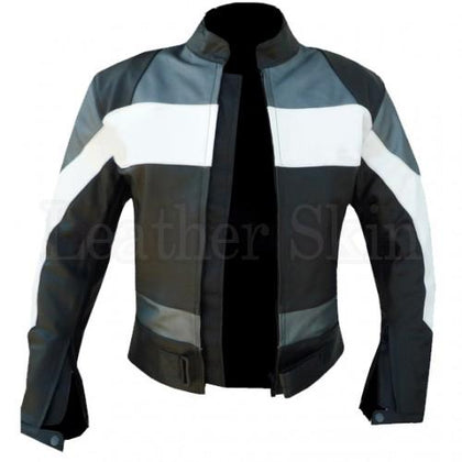 Black Leather Jacket for Men with Gray White Patches