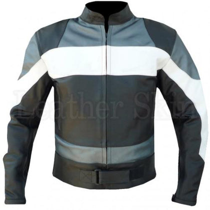 Men Black Leather Jacket Gray White Stripes Patches