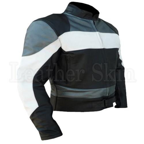 Racing Real Leather Jacket for Men in Black Color