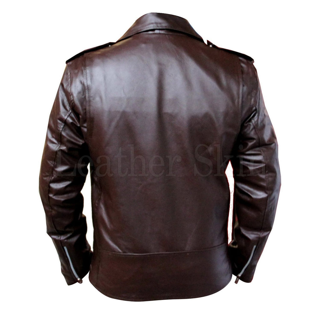 Brown Biker Genuine Leather Jacket with Belt (Back)