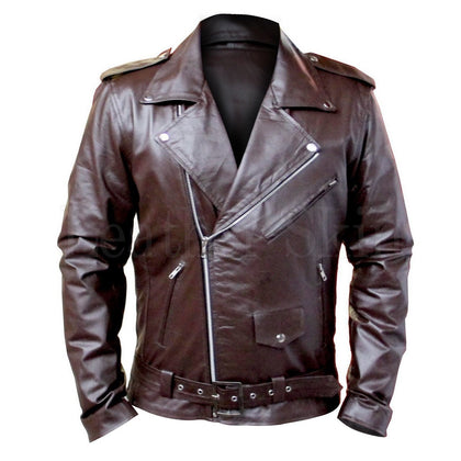 Men Brown Belted Genuine Leather Jacket for Bikers