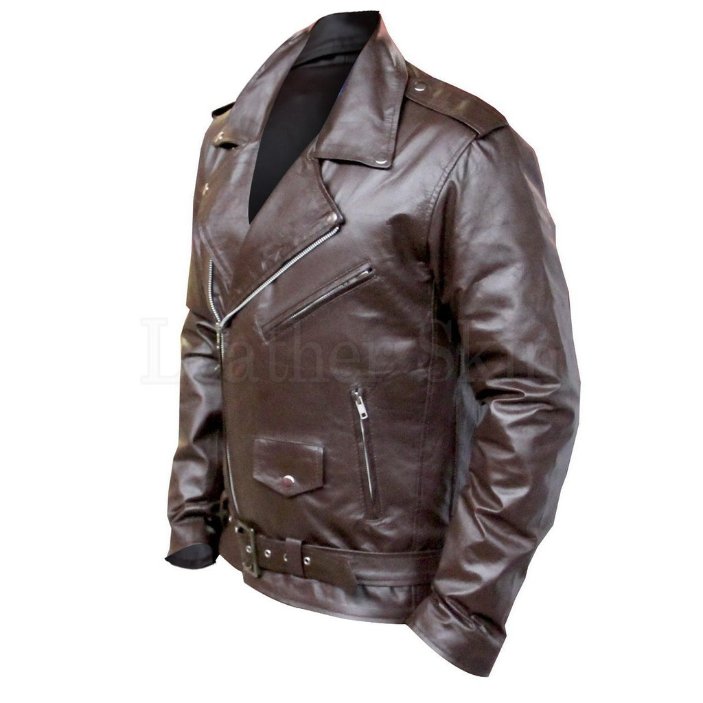 Brown Motorcycle Leather Jacket for Men
