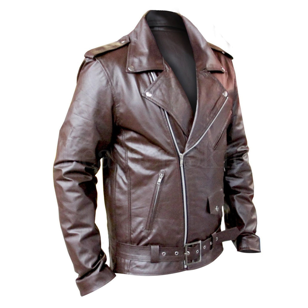 Biker Brown Leather Jacket for Motorcycle