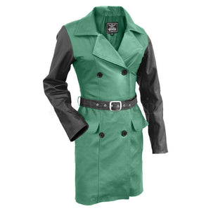 Leather Skin Women Green with Black Sleeves Genuine Leather Coat