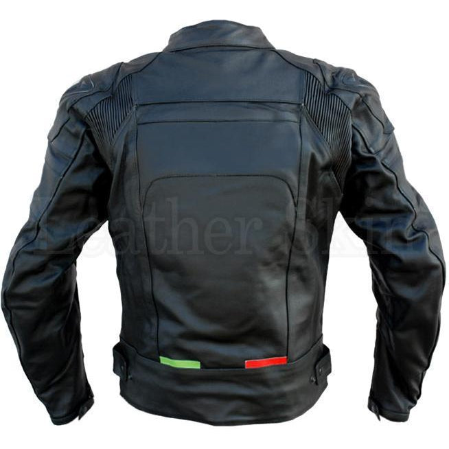 Motorcycle Black Genuine Leather Jacket for Men (Back)