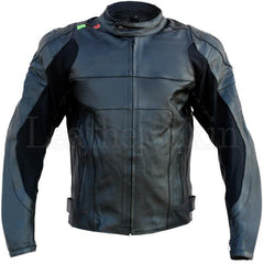 Men Black Genuine Real Leather Jacket for Biker Motorcycle