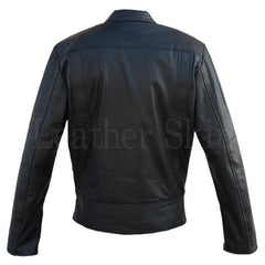Real Black Leather Jacket for Men with Dual Zippers (Back)
