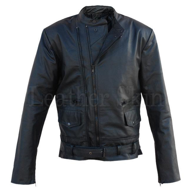 Men Black Genuine Leather Jacket with Dual Front Zippers