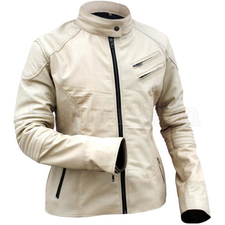 Leather Skin Cream White Unisex Men Women Fashion Stylish Sexy Premium Genuine Leather Jacket