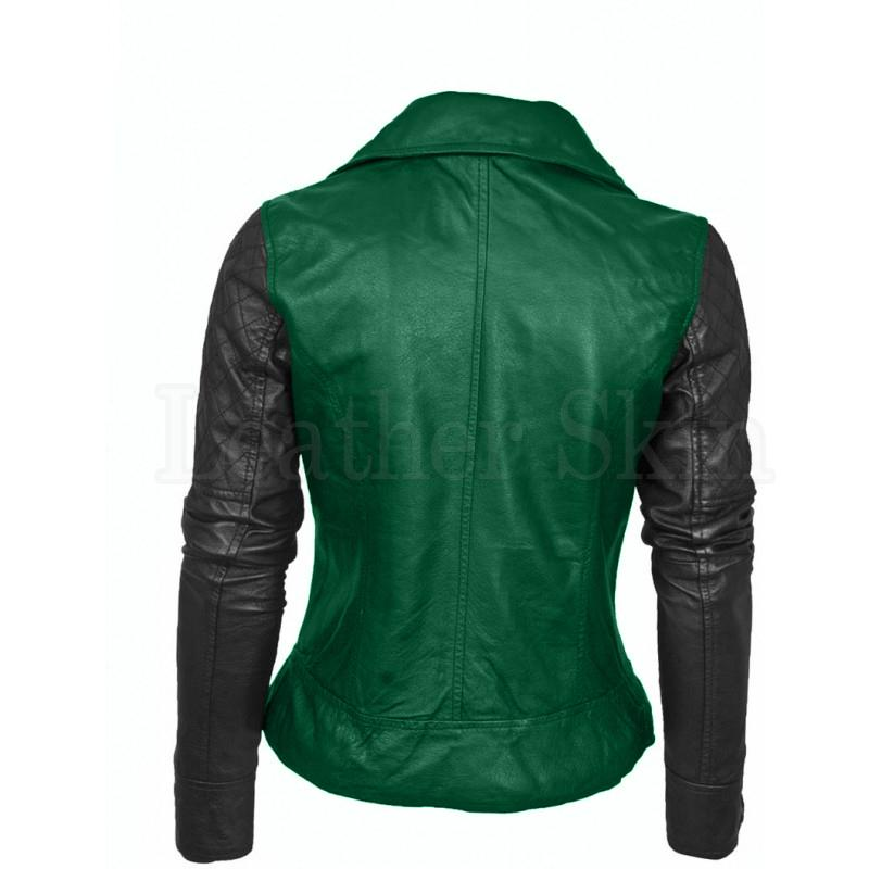 Leather Skin Womens Green Brando Genuine Leather Jacket with Black Sleeves
