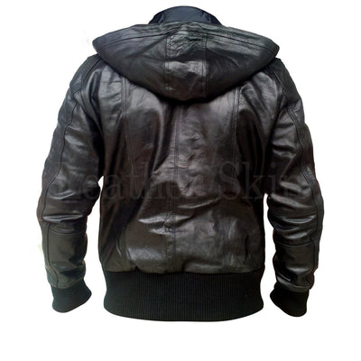 Men Black Hood Leather Jacket (Back)