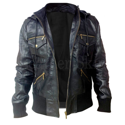 Black Leather Jacket for Men with Hoodie