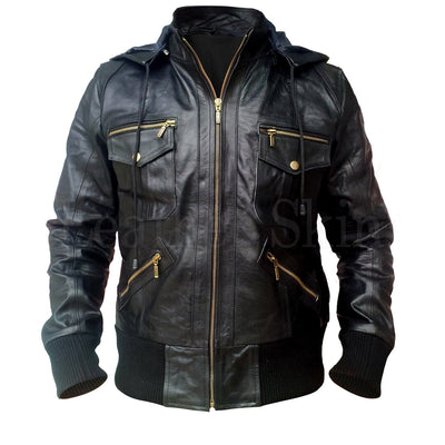 Men Black Genuine Leather Jacket with Hood Gold Zippers