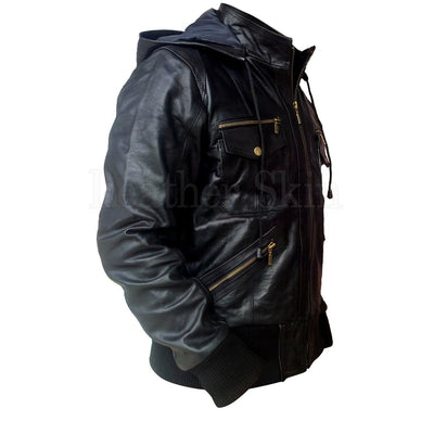 Men Black Real Leather Jacket with Gold Zippers