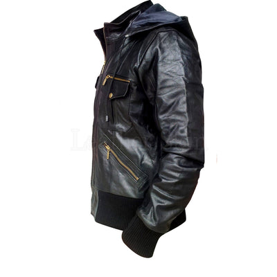Black Hoodie Men Leather Jacket with Elastic wrists