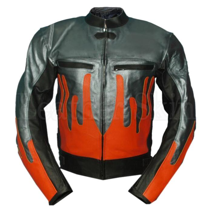 Gray with Orange Fire Motorcycle Biker Racing Premium Genuine Real Leather Jacket