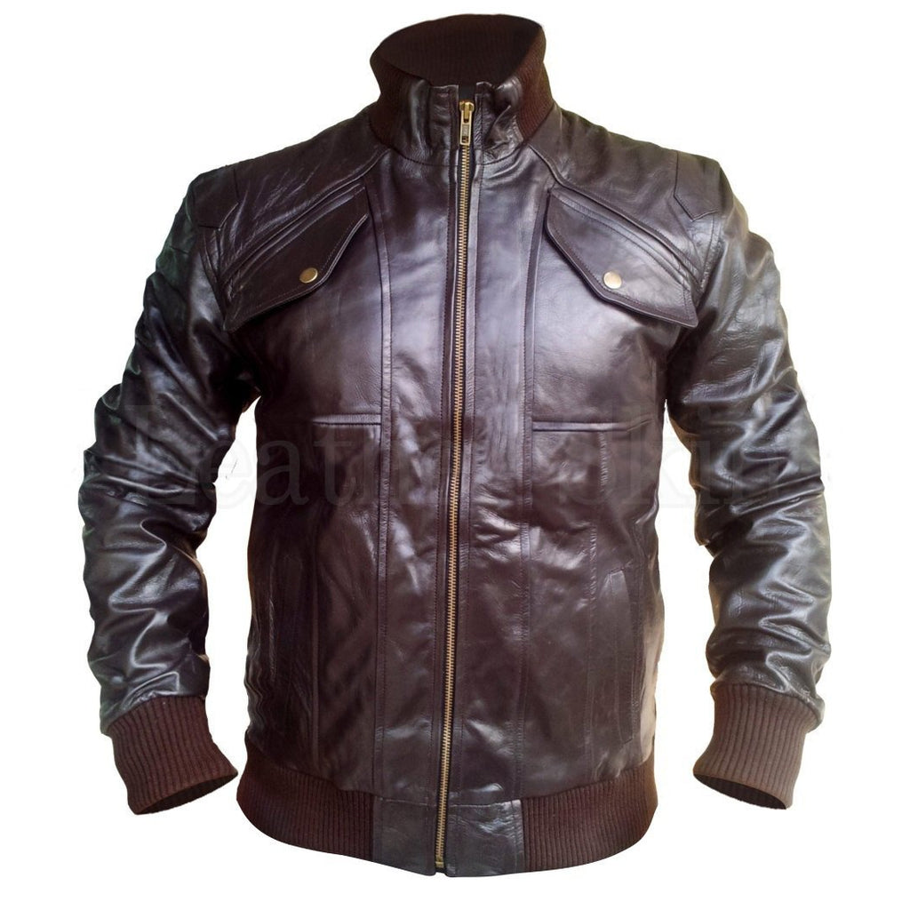 Men Brown Real Leather Jacket with Elastic Wrists and Bottom