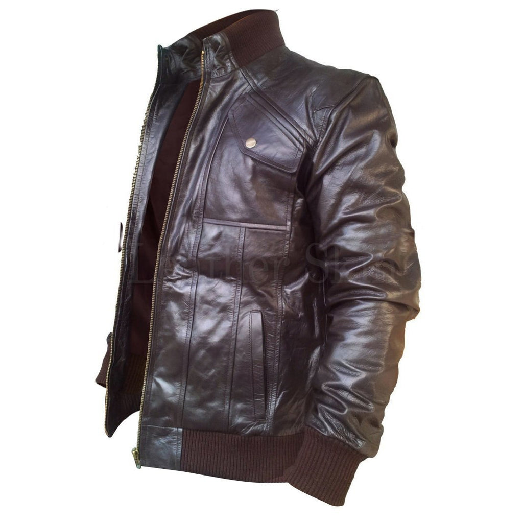 Brown Real Leather Jacket for Men with Chest Pockets