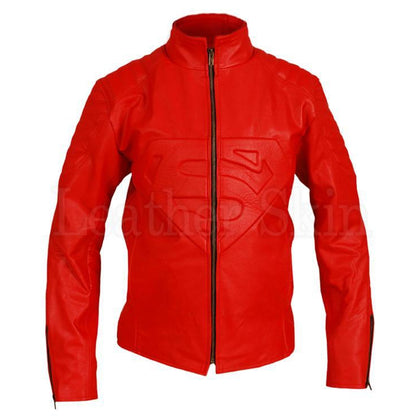 Men Red Genuine Leather Jacket Costume