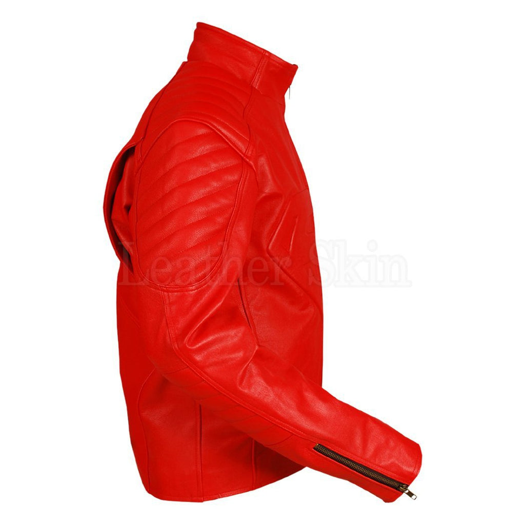 Red Real Leather Jacket for Men