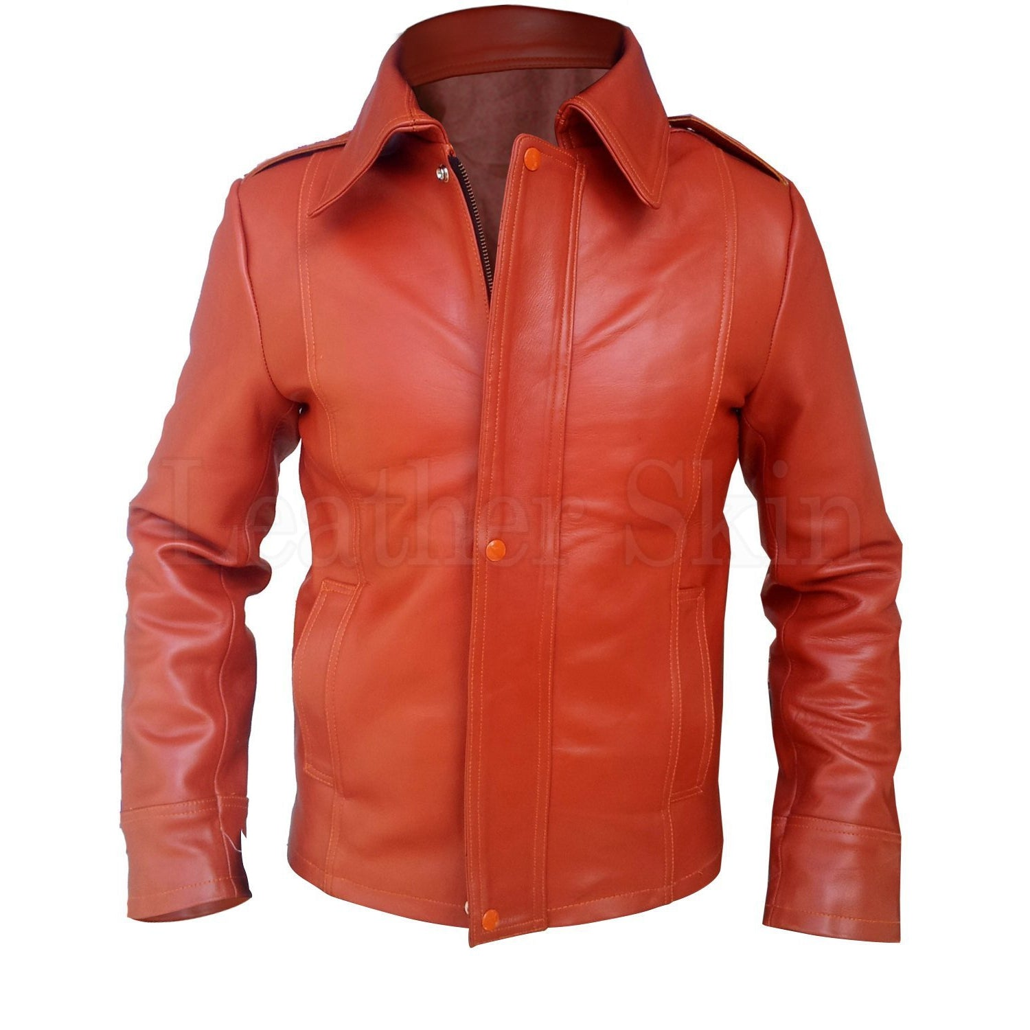 Men Maroon Red Stylish Men Collar Premium Genuine Leather Jacket