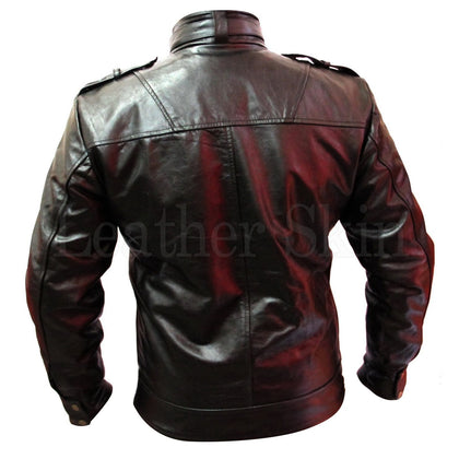 Black Leather Jacket for Men with Chest Pockets