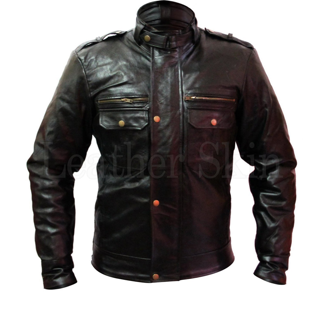 Men Black Genuine Leather Jacket with Chest Pockets and Zipper