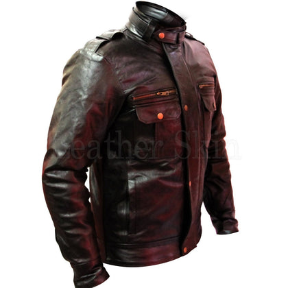 Men Black Real Leather Jacket with Front Pocket and Style Zippers