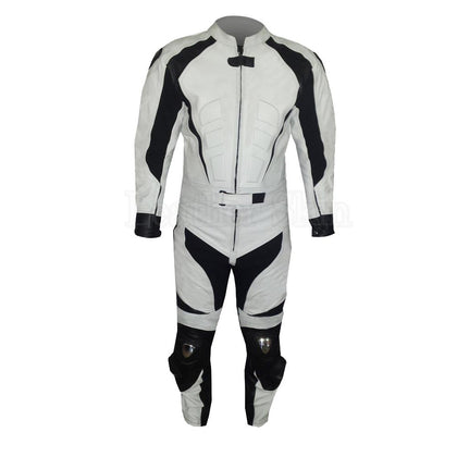 White Biker Leather Suit with Black Stripes