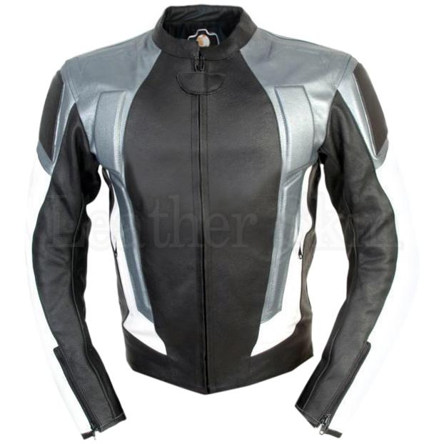 Black Biker Leather Jacket with Silver Gray Stripes