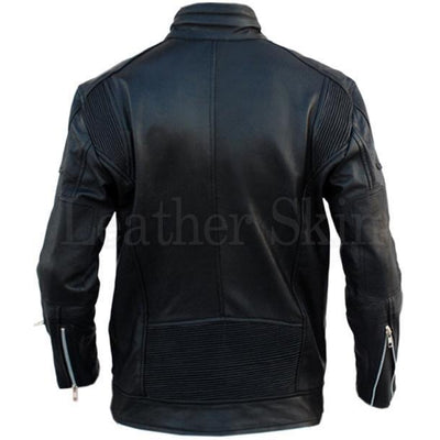 Black Fashion Genuine Leather Jacket for Men (Back)