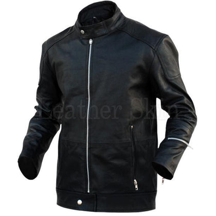 Men Black Genuine Fashion Leather Jacket