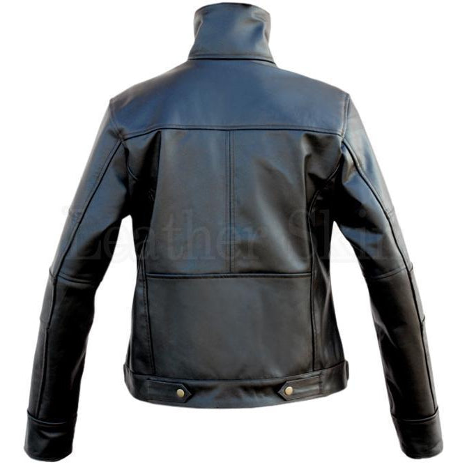 Ladies Black Genuine Leather Jacket with Long Collars (Back)