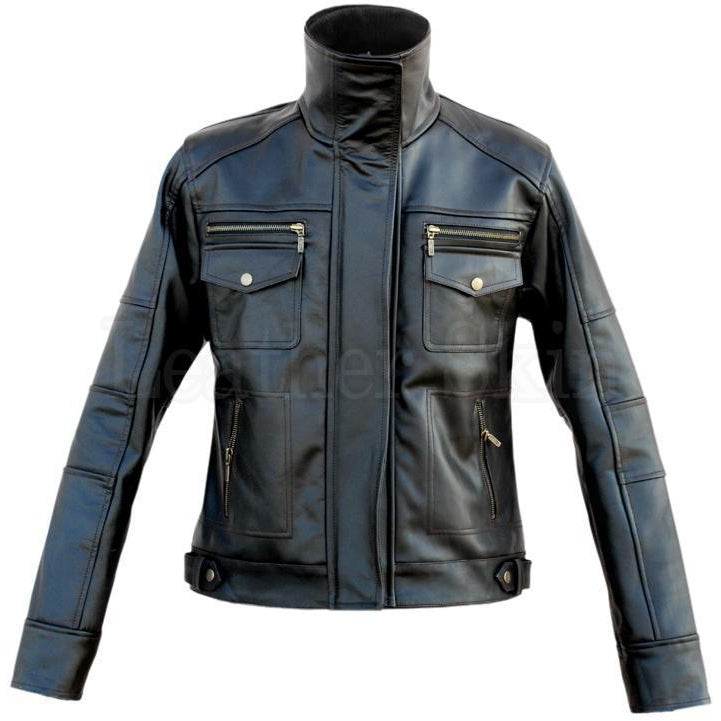 Women Black Leather Jacket with Long Collars