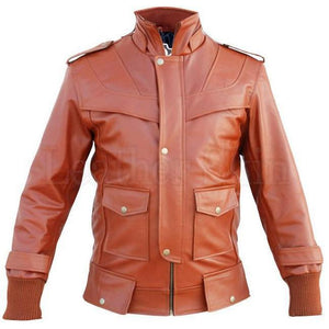 Maroon Red Leather Jacket for Men with Front Pockets