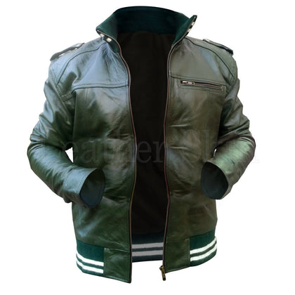 Real Green Leather Jacket for Men with Elastic Stripe Bottom
