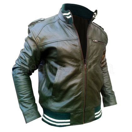 Men Green Genuine Leather Jacket with Elastic Bottom