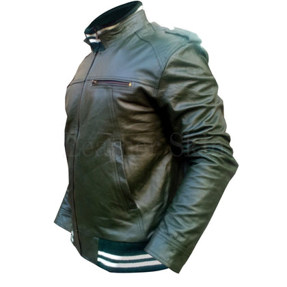 Men Green Real Leather Jacket with Stretchable Bottom