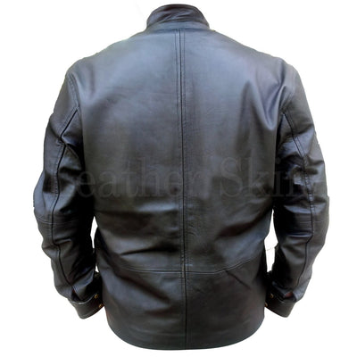 NWT Stylish Black Men Genuine  Leather Jacket with Front Pockets