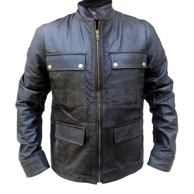 Flap Pockets with Button Closure Black Leather Jacket