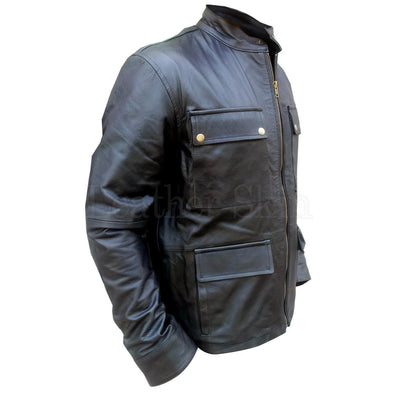 Black Leather Jacket with Flap Pockets