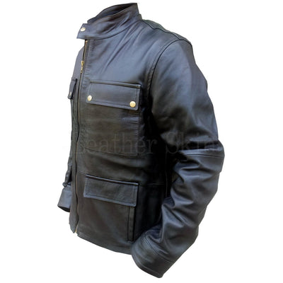 Men Black Real Leather Jacket with Flap Pockets