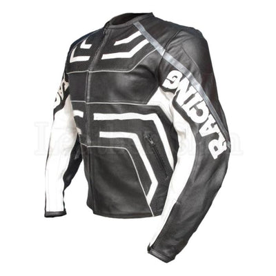 Black Biker Leather Jacket with White Stripes