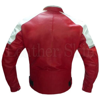 Men Red Biker Genuine Leather Jacket (Back)